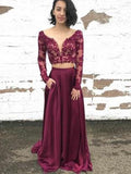 2 Pieces Prom Dresses, Long Sleeves Prom Dresses, Cheap Long Prom Dresses, BG0396
