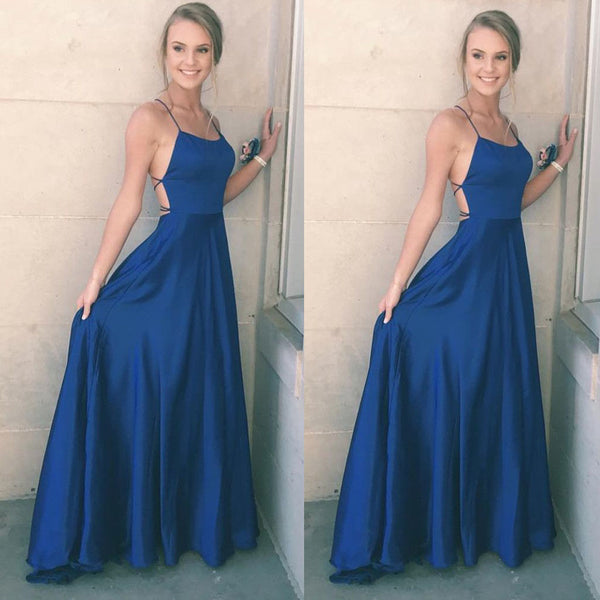 Simple Blue Strap Satin Long Floor Length Formal Gowns ,Sexy Party Cocktail Dress ,PDY0309