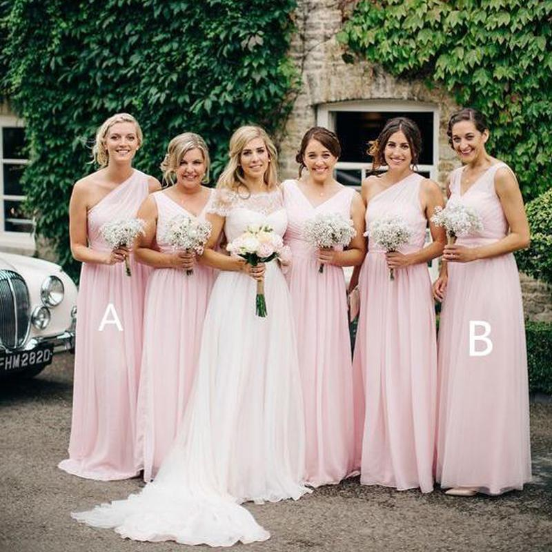 Mismatched Chiffon Pale Pink Long Cheap Bridesmaid Dresses Online, WG250