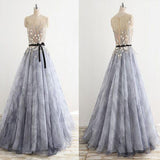 Scoop Neckline Sleeveless Zipper Up Prom Dress, Princess Flower Appliques Prom Dress With Ribbon, Prom Dresses,PDY0278