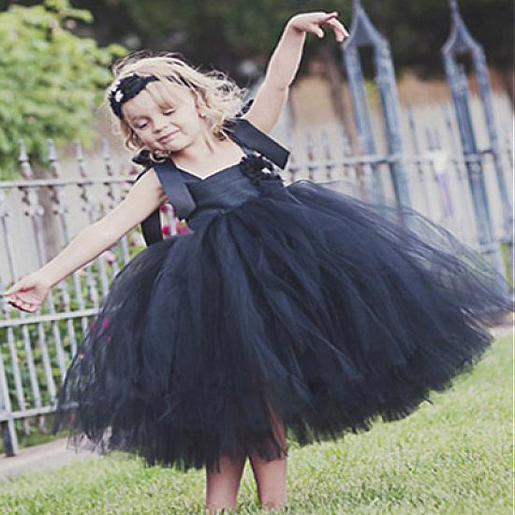 Black Tulle Spaghetti Straps Tutu Flower Girl Dressescheap Older