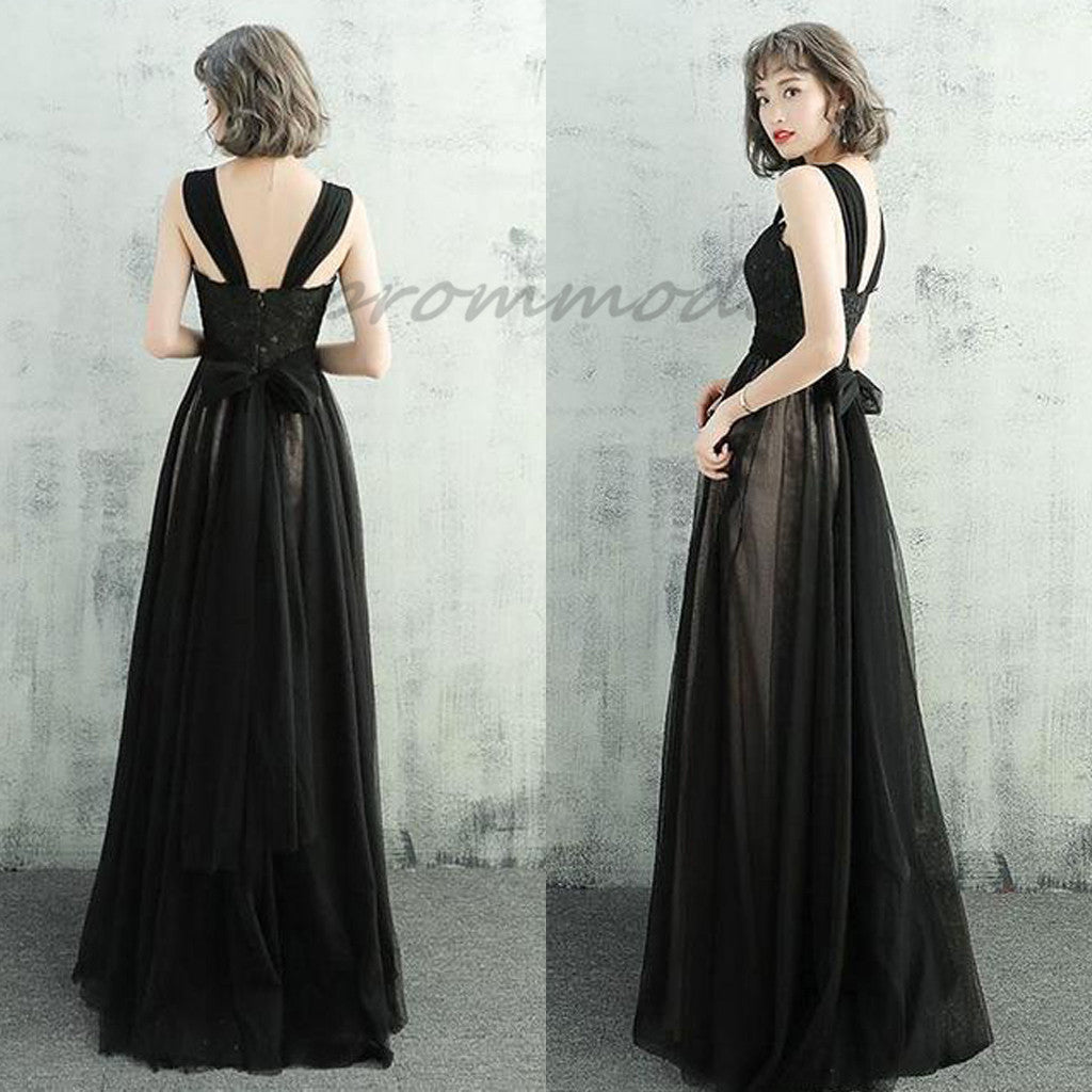 Elegant Black Lace Tulle Prom Dresses With Straps, Long Evening ...