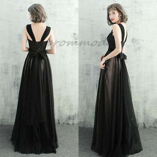 476762bb7b Elegant Black Lace Tulle Prom Dresses With Straps