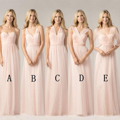 A-line  Floor-Length Pink Chiffon Bridesmaid Dress ,Cheap Long Bridesmaid Dresses,WGY0294