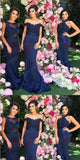 Stunning Mermaid Navy Blue Bridesmaid Dress With Lace Applique And Beading,WGY0201