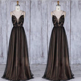 Chic Black Long Straps Tulle A Line  Lace Long Dress,Prom Dress,Evening Party Dress,PDY0372