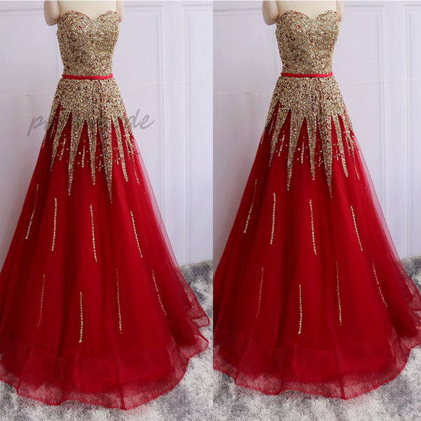 2019  New Arrivals A-Line Red Evening Dresses With Sequins Beadings ,PDY0287