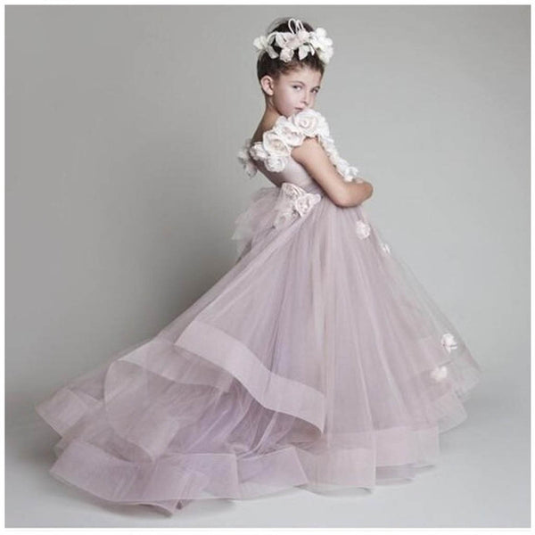 Charming Lavender Flower Girl Dresses Hot Sale A-Line Organza Sleeve Flowers Wedding Girl Dress Custom Made.FGY0154