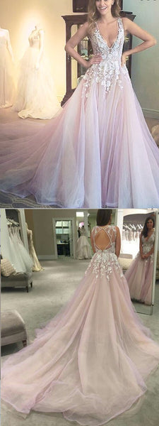 2019 A-Line Bridal Sleeves Deep V Neck Heavily Embellished Bodice Romantic Pretty Pink  Wedding Dress ,WDY0156