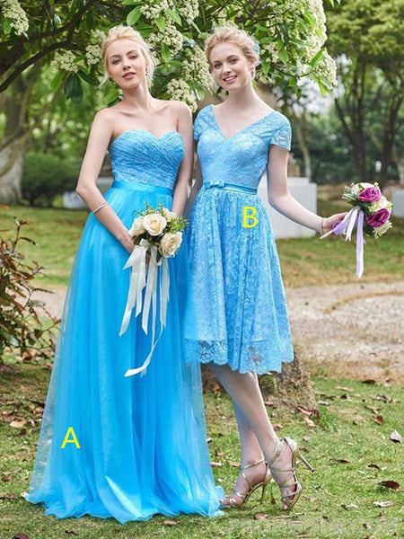 Mismatched Blue Tulle Charming Lace Bridesmaid Dresses, Classic Pageant Princess Dresses, Evening Party Dresses, EPR345