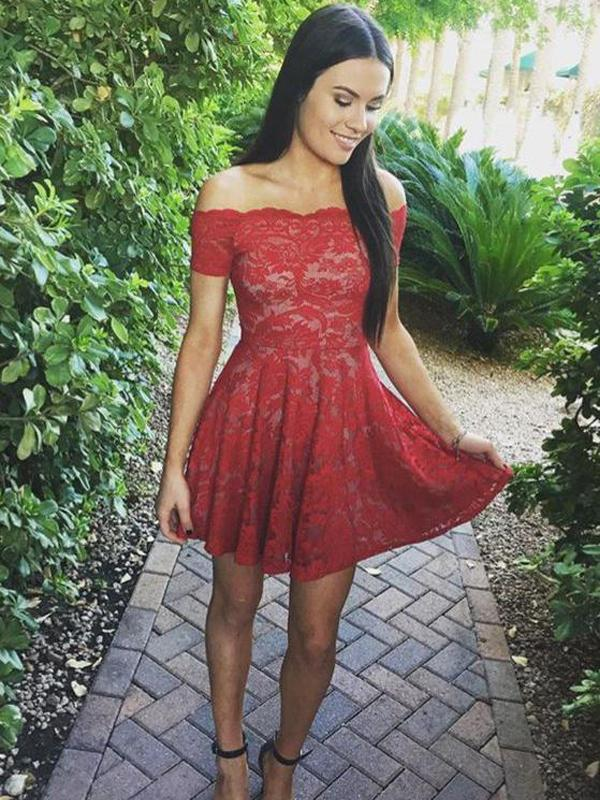 Off Shoulder Red Lace Simple Cheap Short Homecoming Dresses CM549