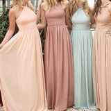 New Arrival Different Colour Chiffon Floor Length Halter Bridesmaid Dresses,Wedding Party Dresses,WGY0180