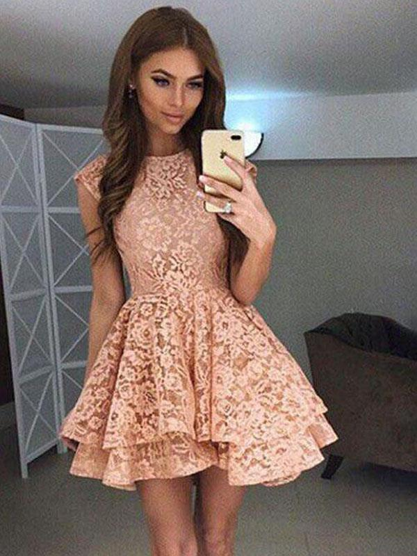 High Neck Peach Lace Cute Short Homecoming Dresses CM559