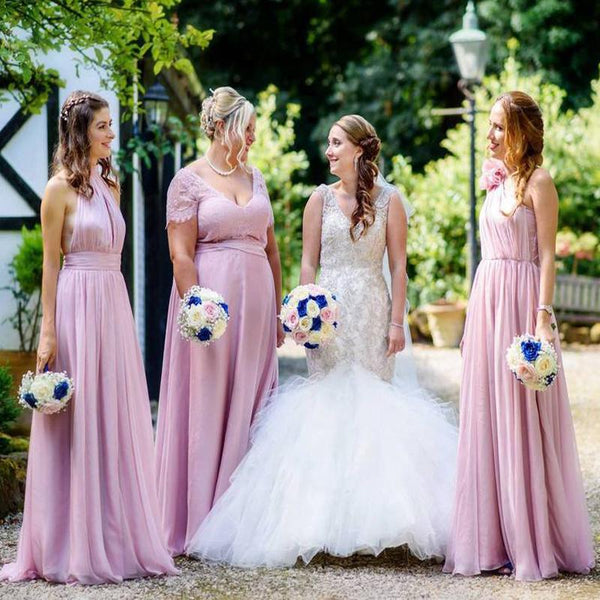 Mismatched Chiffon Lilac Custom Cheap Long Bridesmaid Dresses Online, WG243