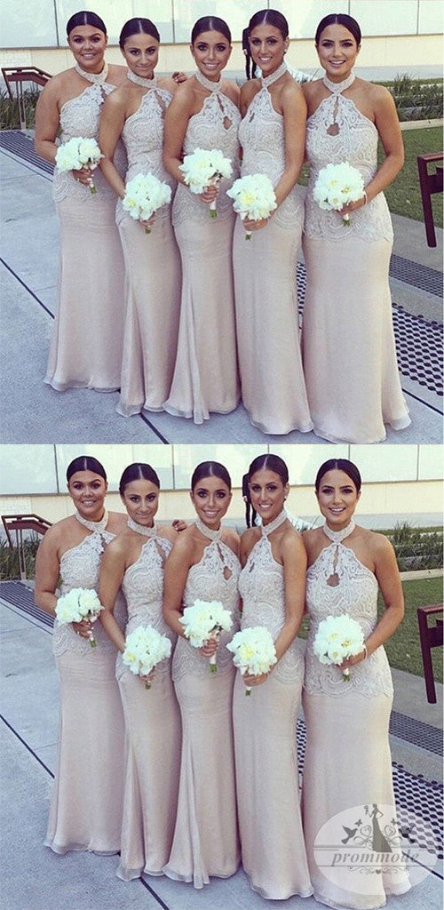 Halter Lace Top Sexy Mermaid Long Elegant Cheap Floor Length Wedding Bridesmaid Dresses,WGY0136