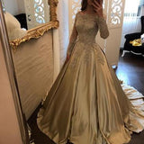 Princess A-Line Off-Shoulder Long Sleeves Ball Gown Long Prom/Wedding Dress with Appliques Lace,PDY0188