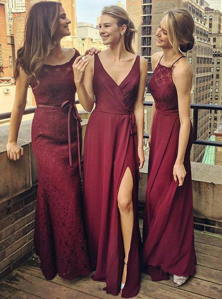 A-Line V-Neck Floor-Length Grape Chiffon Bridesmaid Dress with Split, Lace Bridesmaid Dresses, Wedding Party Dresses,WGY0125