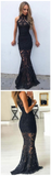 2019 Fashion Mermaid High Neck ,Sleeveless Black  Lace Prom Dress,Evening Dresses,PDY0187