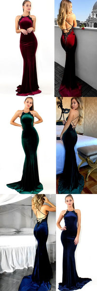 Sexy Mermaid Lace Up Floor-length Velvet  Prom Dress,Evening Party  Dress.PDY0235