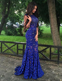 Luxurious Mermaid Jewel Sleeveless Open Back Sweep Train Lace Prom Dress With Beading ,PDY0308