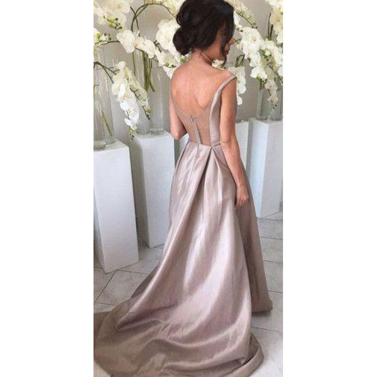 Luscious Sleeveless Silver Long A Line Satin Bridesmaid Dresses,Bridesmaid Gown ,WGY0146