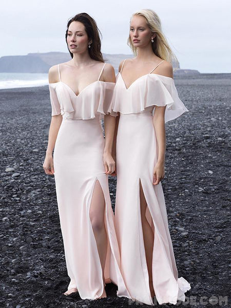 Off-shoulder Baby Pink Chiffon Hi-low Bridesmaid Dress, Pegeant Classic Dress with Ruffles and Side Split, EPR318