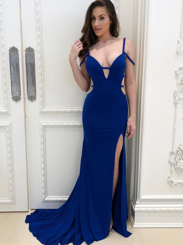 Royal Blue Mermaid Side Slit Prom Dresses, Sexy Long Prom Dresses, BG0443