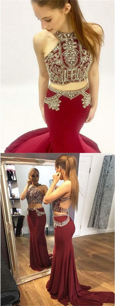 2 Pieces Prom Dresses, Rhinestone Beaded Prom Dresses, Long Prom Dresses, bg0397
