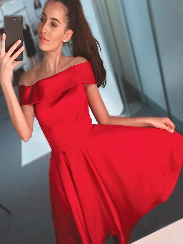 Simple Red Off Shoulder Cheap Short Homecoming Dresses CM526