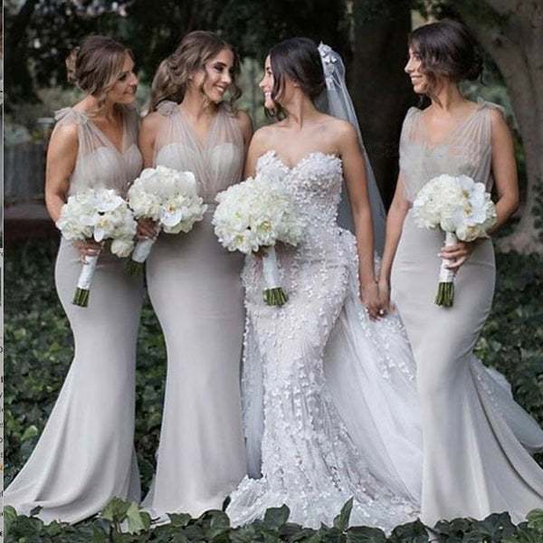 Mermaid V-Neck Backless Sweep Train Grey Bridesmaid Dress,Bridesmaid Gown ,WGY0153