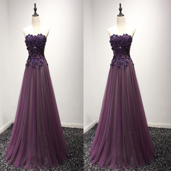 Pruple Sweetheart Neck Lace Long Prom Dress, Formal Dress,Evening Party Dresses,PDY0279