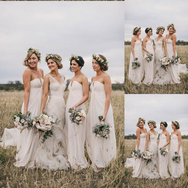 Sweetheart Long Chiffon  Sleeveless White Elegant Country Bridesmaid Dresses,Bridesmaid Gown,WGY0165