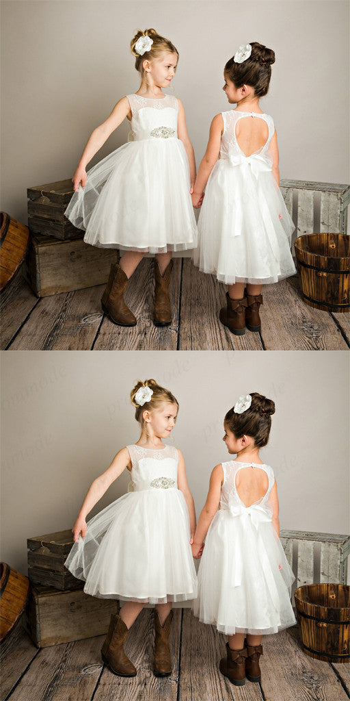 Cute White Tulle Open Back Beaded Little Girl Dresses With Lace ,Flower Girl Dresses ,FGY0172