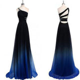 Dreamy A-line One Shoulder Sweep Train Chiffon Prom/Evening Dresses With Beads.PDY0246