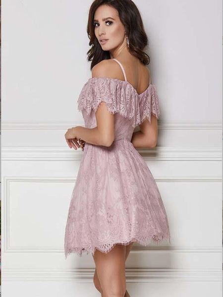A-Line Purple Lace Homecoming Dress with Ruffles,Short Prom Dresses,BDY0361