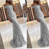 Elegant Sheath Off-the-Shoulder Lace Blue Long Prom,Evening / Formal Dresses,PDY0267