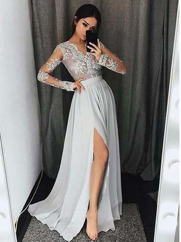 Long Sleeves V-Neck Side Split Silver Long Prom Dresses ,Cheap Prom Dresses,PDY0437