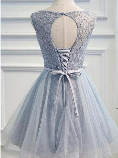 A-line Tulle Beaded Open-back Lace-up with Bow Homecoming Dress, EPR0008