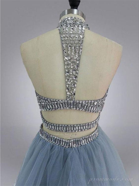 Two-pieces A-line Beaded Rhinestone Tulle Hem Open-back Mini Homecoming Dress, EPR0007