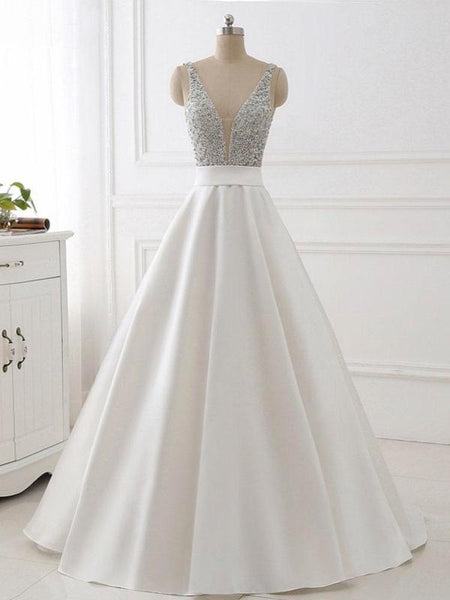 7a6875f96bc46 A-line V-neck Beaded White Satin Prom Dresses ,Cheap Prom Dresses ...