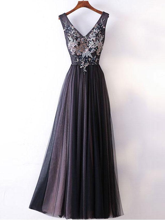 A-line V-neck Lace Appliqued Black Prom Dresses ,Cheap Prom Dresses,PDY0426
