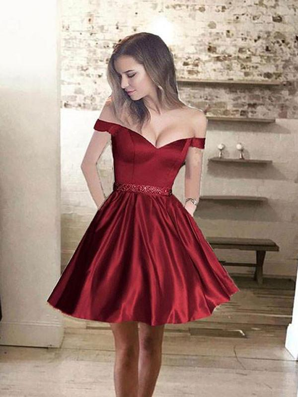 Simple Off Shoulder Red Short Cheap Homecoming Dresses  CM431