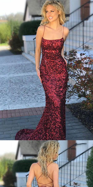 Sexy Sheath Mermaid Red Spaghetti Straps Party Dress,Elegant Prom Dresses,Formal Gowns, PDY0229