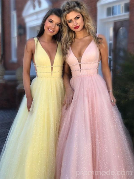 Multi-colored V-neck Tulle Charming Prom Dresses, Cheap Sparkling Long Prom Dresses, EPR374