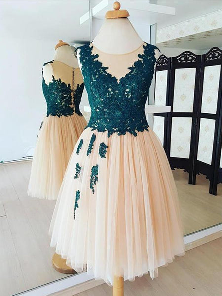 Teal Lace Applique  Tulle Cheap Homecoming Dresses Online, CM587