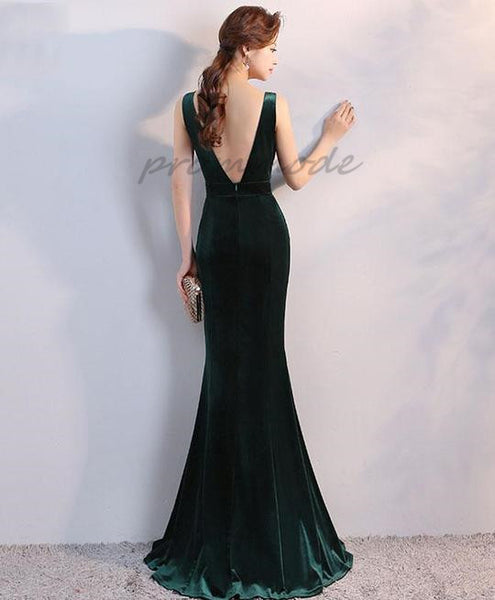 Elegant Dark Green Velvet  V Neck Long Prom Dress With Sequin, Evening Dress,PDY0353