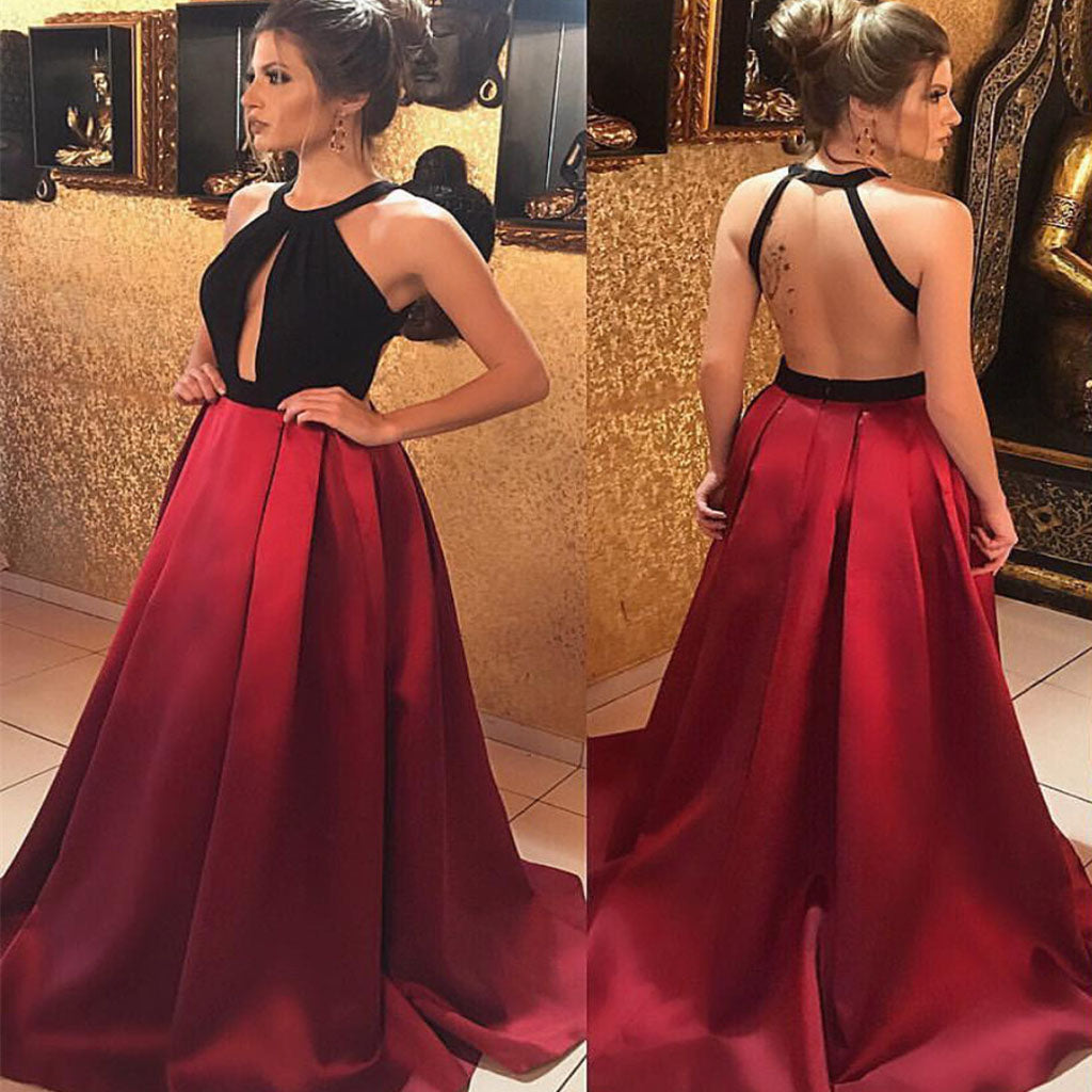 Sexy Satin Backless Open Back Floor-Length Long Prom,Evening Party Dress.PDY0240