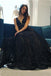 Beautiful A-Line V-Neck Floor-Length Black Lace Long Prom Dress With Beading,Party Dresses,PDY0341