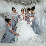 Simple Satin Grey Off-the -shoulder Floor-length Bridesmaid Dress,Formal Evening Dresses,WGY0214