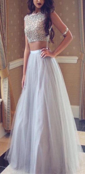 A-line White Two Piece Prom Dresses With Beaded/Beading Sleeveless,Evening Party Dress,PDY0276